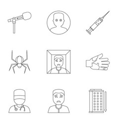 Anxiety and stress icon set outline style vector