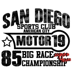 Athletic sport america san diego typography t-shir vector