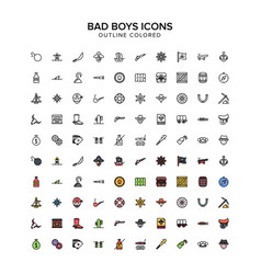bad boys pirates cowboys outline colored icons vector image