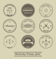 Barbershop vintage label design vector image
