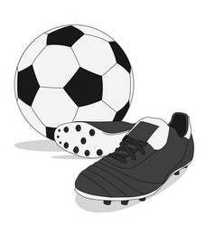 Black and white soccer ball with stud shoes vector