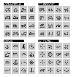 black transport icons set vector image