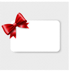 Blank gift tag red ribbon bow vector