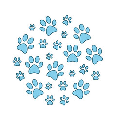 blue animal paw prints round funny vector image