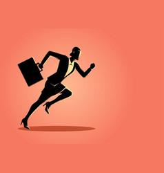 Businesswoman running with briefcase vector