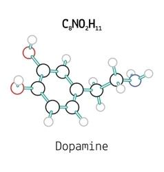C8NO2H11 dopamine molecule vector image