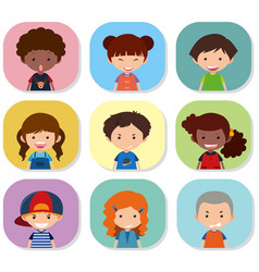 Children with different emotions on their faces vector