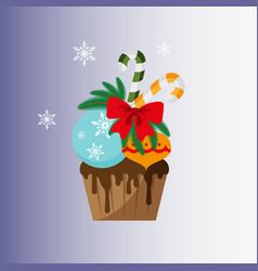 christmas cupcake festive cupcake vector image