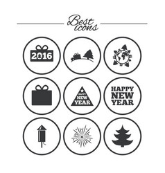 christmas new year icons gift box fireworks vector image