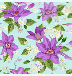 Clematis flowers floral tropical seamless pattern vector