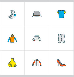 Clothes icons colored line set with cardigan half vector