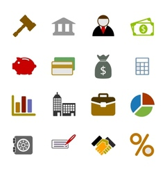 Color Business Icons Set vector