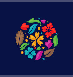 Color flower shapes as a circle vector