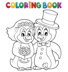 coloring book penguin wedding theme 1 vector image