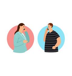 Couple talking on phone vector