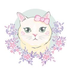 Cute cat t-shirt printlove cardsvalentine s vector