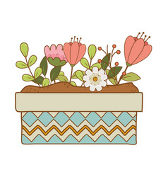 Cute flowers and leafs in pot garden vector
