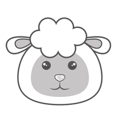 Cute sheep animal kawaii style vector