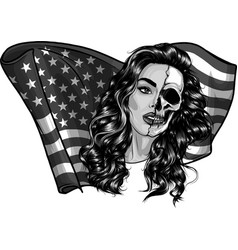 design beautiful woman with american flag vector image