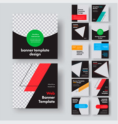 Design square black web banners with place for vector