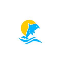 dolphin smart animal logo design inspiration for vector image