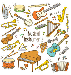doodle musical instruments vector image