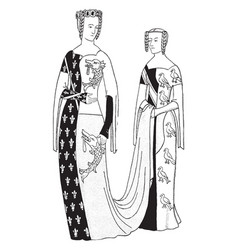 Dressed in italian 14th century costumes vintage vector