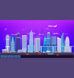 evening cityscape with different city transport vector image