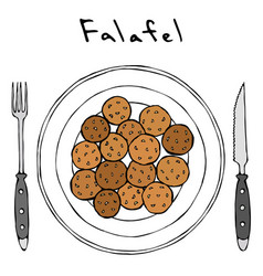 Falafel on a plate top view with fork and knife vector
