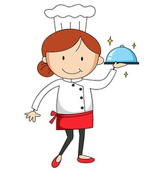 Female chef carrying tray of food vector