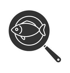 fish on frying pan glyph icon vector image