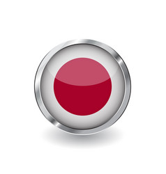 flag of japan button with metal frame and shadow vector image