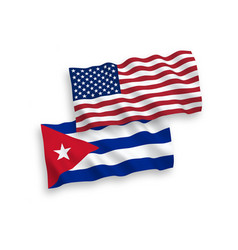 Flags cuba and america on a white background vector