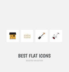 Flat icon garden set of wooden barrier grass vector