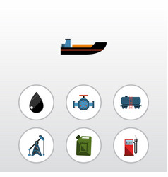 Flat icon oil set of droplet flange container vector
