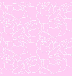 Floral peony pattern in hand drawn style vector
