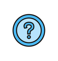frequently asked questions faq flat color icon vector image