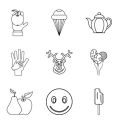 Fruit sugar icons set outline style vector