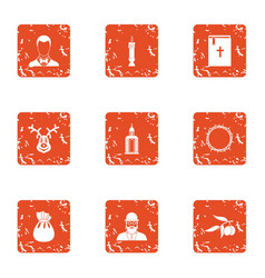 Funeral rite icons set grunge style vector