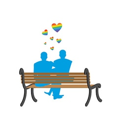 Gays on bench Appointment of two blue men Romantic vector