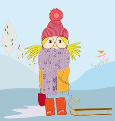 Girl in scarf and with a sledge vector
