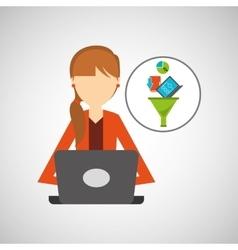 Girl using computer data analysis vector