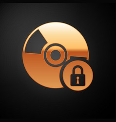 Gold cd or dvd disk with closed padlock icon vector