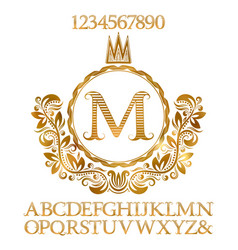 Golden letters and numbers with initial monogram vector