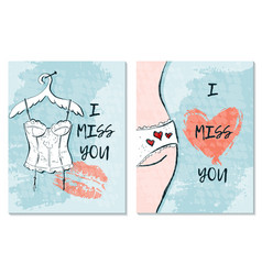 Greeting card for st valentine s day i miss you vector