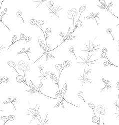 Hand-drawn flower seamless pattern vector image
