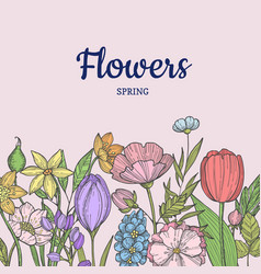 Hand drawn flowers background with place vector