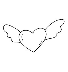 Heart with wings icon sticker sketch hand drawn vector