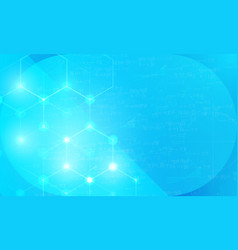 hexagon cells on science background vector image
