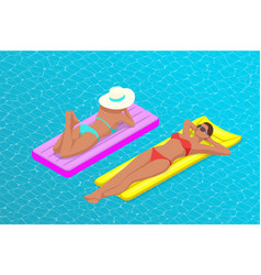 inflatable ring and mattress young women on air vector image